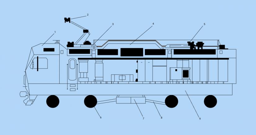 Схема локомотива 2ЭС10