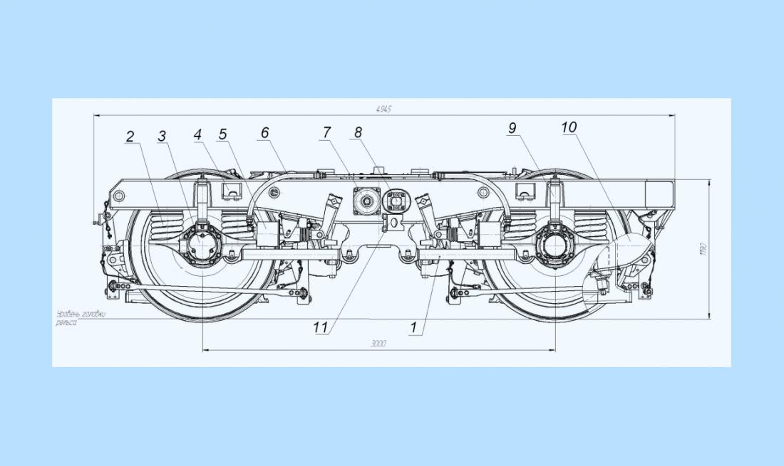 Схема тележки электровоза 2ЭС6