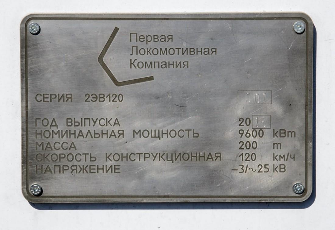 Табличка первой локомотивной компании на поезде 2ЭВ120