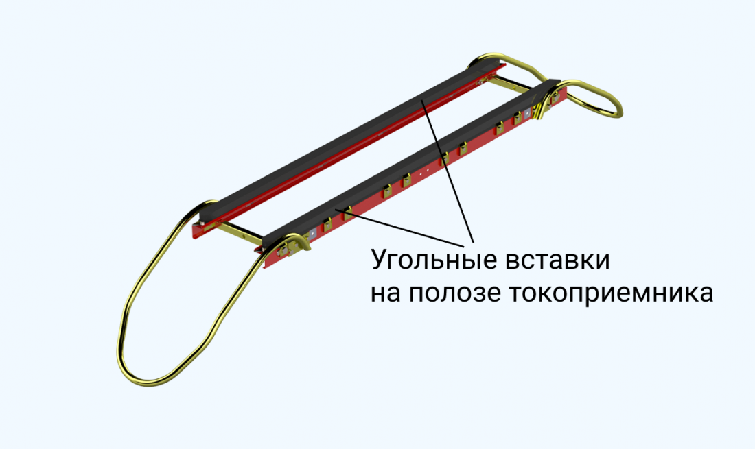 Угольные вставки на полозе токоприемника